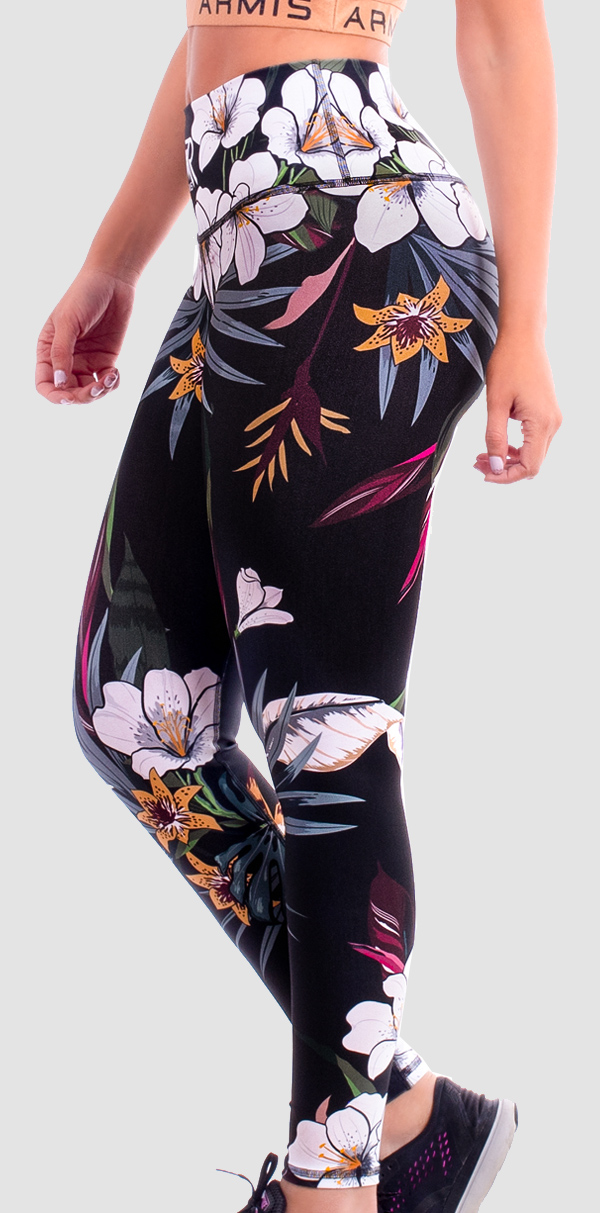 Lycra Mujer Floral Negra